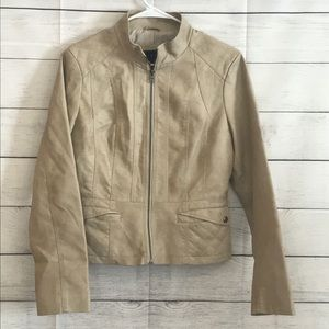 ❤️ Giacca Faux Leather Jacket, cream color, small